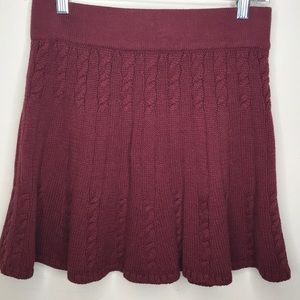 Hollister Skirt Cable Knit Sweater Maroon Sz M